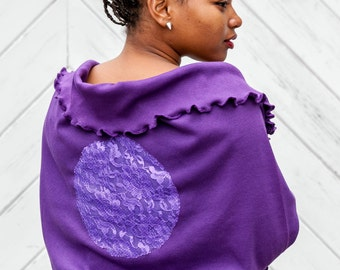 Royal Purple Oversized Infinity Scarf Shawl with Violet Lace Applique