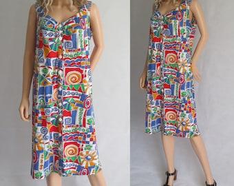 Lumineux, robe d'été, français cru, sans manches, au genou, boutonnage sur le devant, en jersey de coton stretch, grand