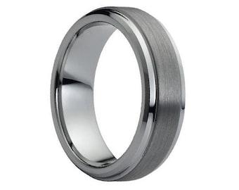 Mens Wedding Band Brushed Tungsten Carbide Unique Mens Wedding Band Mens Wedding Ring Tungsten Ring Man Wedding Band 7mm Wedding Band Ring