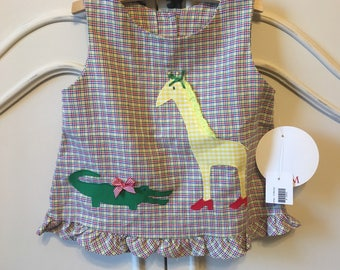 Sz. 12 mo. Whimsical Alligator & Giraffe Dress
