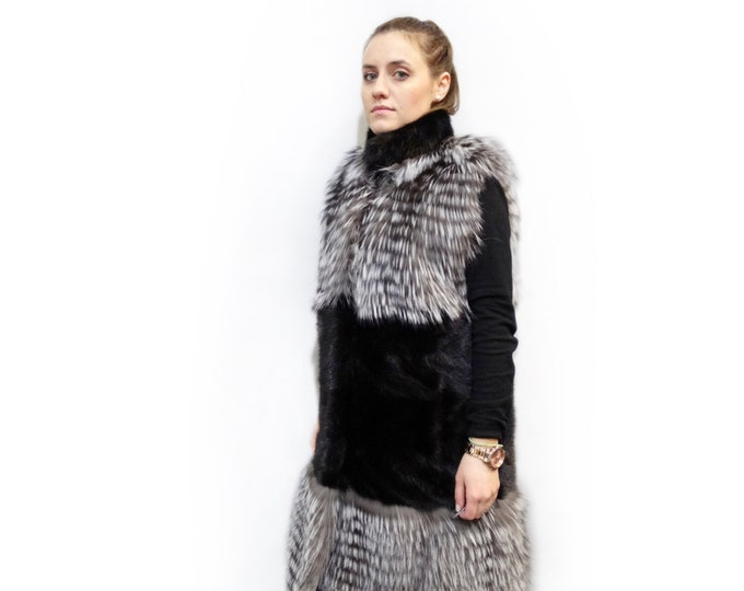 Long Fur Vest,Real Fur Fox and Mink Vest,Silver Fox Vest F205