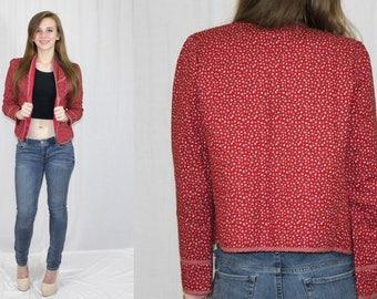 Vintage 80s Eber Red CALICO Floral Quilted Retro Open Blazer Jacket Boho M