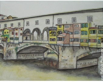 Ponte Vecchio Florence Italy - ART PRINT - 8 x 10 - By Mixed Media Artist Malinda Prudhomme