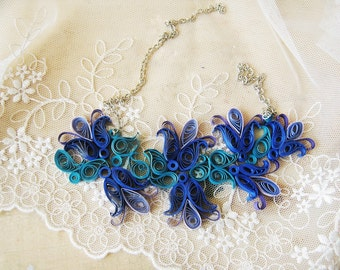 Custom Paper Wedding Anniversary Gift for Her,  Blue Flower Paper Necklace, Floral Design Necklace