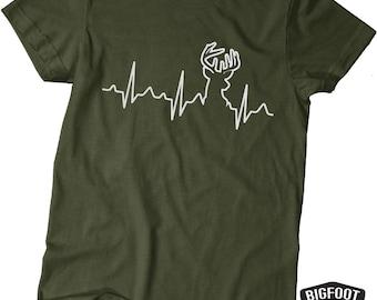 Deer Hunting shirt - Buck Heart Beat - Hunting Shirt - Military Green