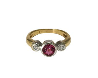 14k Yellow and White Gold Pink Sapphire and Diamond Ring, Pink Sapphire, September Birthstone, Estate Jewelry, Vintage Ring