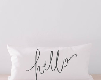 Lumbar Pillow - Hello Calligraphy, Choose Your Favorite Fabric Color, Text Color, Font Design, Cover Size and Fill in Listing!