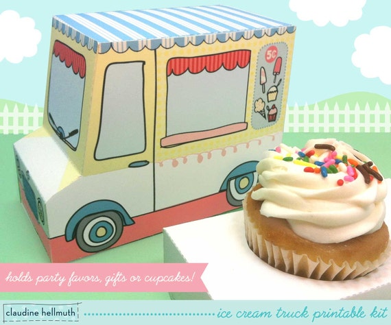 ice cream truck cupcake box gift favor box party