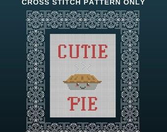 "Cross Stitch Pattern ""Cutie Pie"" Instant Download Printable PDF"