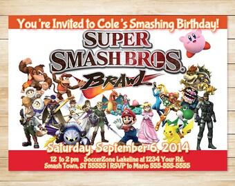 Nintendo Super Smash Bros Brawl Invitation White // Super Smash Bros Invite // Super Smash Bros Birthday