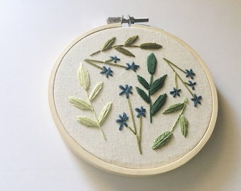Embroidery Hoop Art, Hoop Art, Wildflower Wall Art, Embroidery Plants, Green Aesthetic, Boho Decor, Nature Art, Botanical Embroidery Art