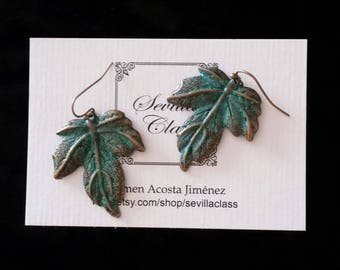 Bronze Maple leaf earrings with green patina