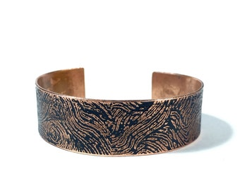 Etched Copper Cuff Bracelet - Free Domestic Shipping