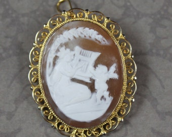Vintage italian cameo necklace 18k gold necklace designer vintage italian gold over 800 silver filigree cameo brooch and pendant aloadofball Image collections