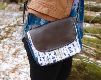 Ready-to-Ship Arrows Two-Tone Crossbody Saddle Bag