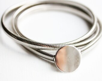 Silver Circle Coil Belt - M
