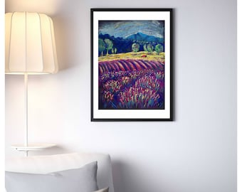 Landscape Painting - French Provence - Purple Lavender Field -  Nature Landscape - Gift for her - Instant download - Printable Art