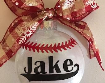 Baseball ornament, boy ornament, glitter baseball ornament, personalized baseball ornament