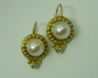 Gorgeous PENNY PREVILLE pearl and diamond leverback earrings 18k 18kt yellow gold lever back