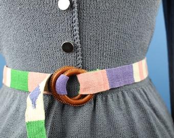 Multi color woven vintage belt