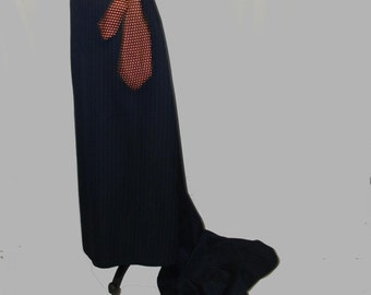 Custom Pinstriped Maxi Skirt with Train YOUR SIZE Bankers stripe