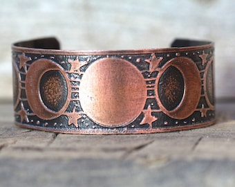 Etched Copper Cuff Bracelet Etched Cuff Bracelet Copper Cuff Moon Phase Jewelry Lunar Jewelry Galaxy Jewelry Celestial Jewelry Moonphase