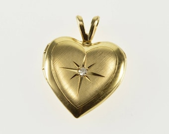 14K Diamond Inset Brushed Finish Rounded Heart Locket Pendant Yellow Gold