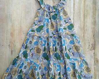 SEWING PATTERN,PDF, Girls Tiered Ruffle Dress, Neck Ruffle, Long Dress , Knee Length Dress,  18 months to 7 years, Flutter  Dress Pattern