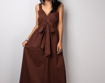 Brown Dress / Long Brown Maxi Dress : Love Party Collection