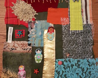Fabric collage. Vintage and modern fabrics as well as embellishments. Original.