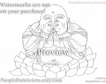 Praying Buddha Printable Coloring Page Happy in a Lotus Flower Tattoo Style Art Line Drawing Adult Digital Color Sheet JPEG Instant Download