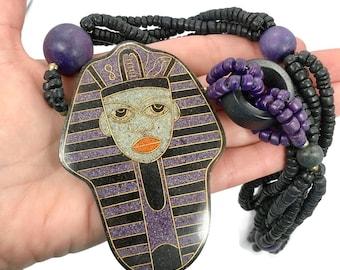 Egyptian Necklace, King Tut, Nefertiti, Vintage Necklace, Stone, Wood, Statement, Oversized Necklace, Purple, Green, Massive, Big Pendant