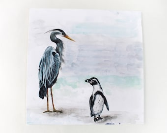 Great Blue Heron & Humboldt Penguin Giclee Print