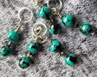 Stitch Markers. Set of 5 Turquoise & Black glass beads with Swarovski gems.