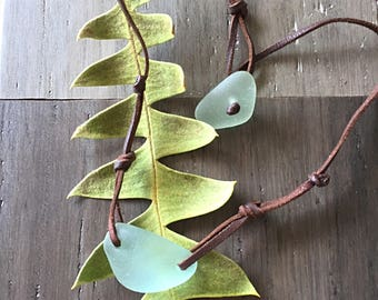 Hawaiian Sea Glass and Leather Choker Necklace, Beach Boho Necklace,  Sea Glass Necklace