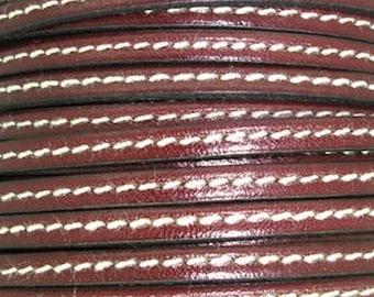 20 cm Leather Strip 5 mm flat Burgundy with stitching
