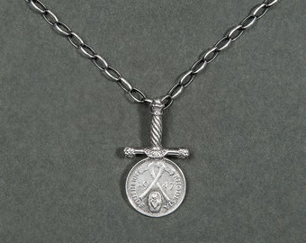 After war Necklace (chain and Sterling Silver) / sword and coin
