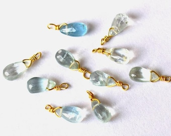 Nice 1 aquamarine briolette Navy wire plated gold