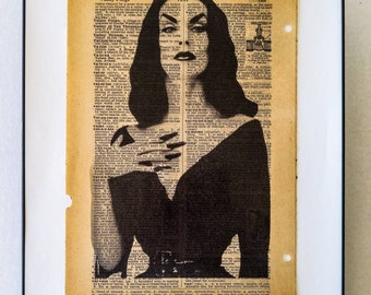"""Horror Dark Vampira Art Dictionary Print on Real vintage Dictionary page on the word """" Vampire """" Frame Included Free Shipping"""