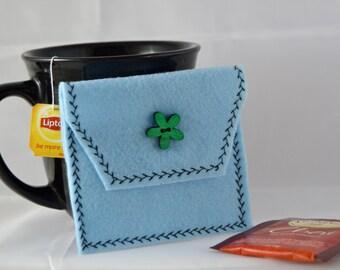 Reusable Tea Pouch, Light Blue Tea Tote, Tea Bag Carrier, Tea Wallet, Felt Envelope, Tea Bag Pouch, Tea Accessory, Mother's Day Gift
