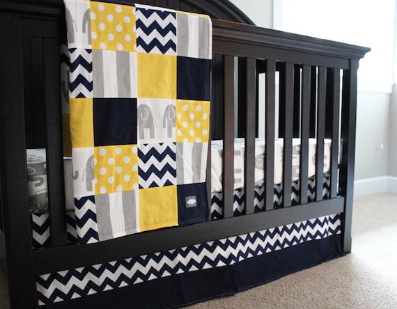 Baby Crib Bedding Set Yellow Navy Blue Grey Elephant