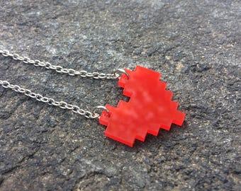 Pixel-Heart Necklace (Dual-Hole)