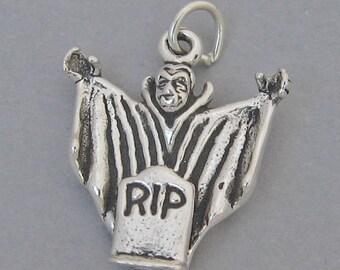 DRACULA RIP VAMPIRE Sterling Silver 925 Charm Pendant 3D Halloween 2850