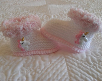 Knitted Baby Girl Booties, Unicorns, Baby Girl Fur Booties,  Baby Girl Boots,  Baby Girl Fur Boots Size  3 to 6 Months Ready Made