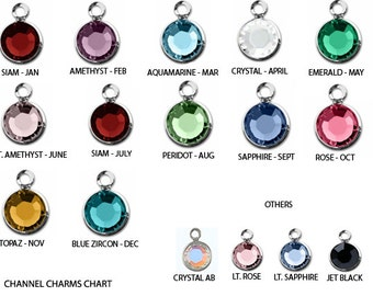 10 Swarovski Birthstone Charms Sterling Silver Plated - Choose color swarovski birthstones crystal charms 6mm Stone CC6S-X10 swarovski birth