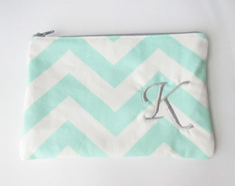 Monogram Make up Bag - K pouch - Ready to Ship - Christmas Stocking Stuffer - Cosmetic bag - Make up Clutch - Monogrammed Gift - Medium