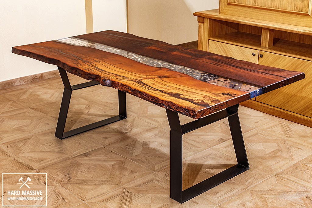 River Table With Stones Unique Dining Table Table Wood