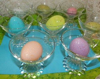 Set of 8 Clear Anchor Hocking Boopie Crystal Glass Stemware Liquor Glasses Sherbet Ice cream