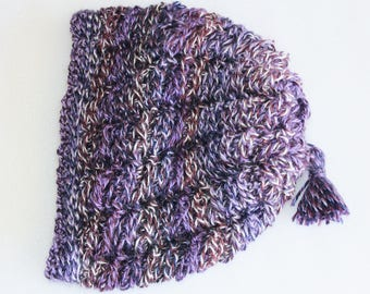 Winter Hat for Woman - Purple and White - Womens Hat - Slouch hat with tassel