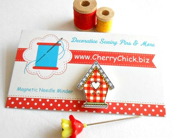 Bird House Needle Minder - Needlework - Needle Magnet - Needle Keeper -  Gift for Quilter - Embroidery - Cross Stitch - Cherry Chick